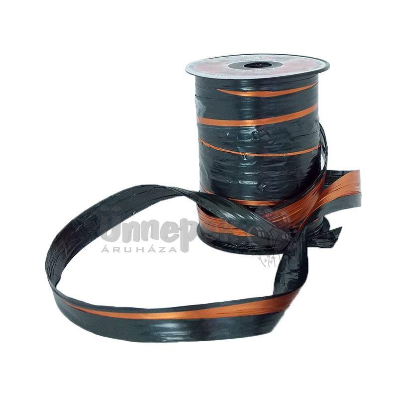 Kétszínű (Fekete - Narancs) Metál Fényes Díszítő Fólia Szalag - 50 m