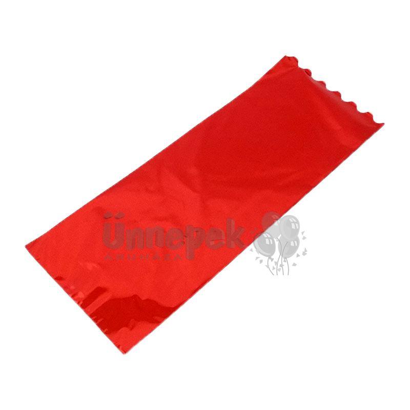 Metál Fényes Piros Ajándéktasak Palackos Italokhoz - 18 cm x 50 cm, 1 db