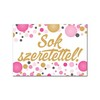 Sok Szeretettel! Rózsaszín Pasztell Konfettis Hűtőmágnes