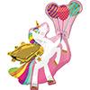 Vidám Szárnyas Egyszarvú Lufikkal Héliumos Fólia Lufi, 86 cm