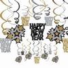 Happy New Year és Csillagok Szilveszteri Spirális Függő Dekoráció - 30 db-os