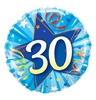 18 inch-es Kék - 30 Shining Star Bright Blue 30. Szülinapi Számos Héliumos Fólia Lufi