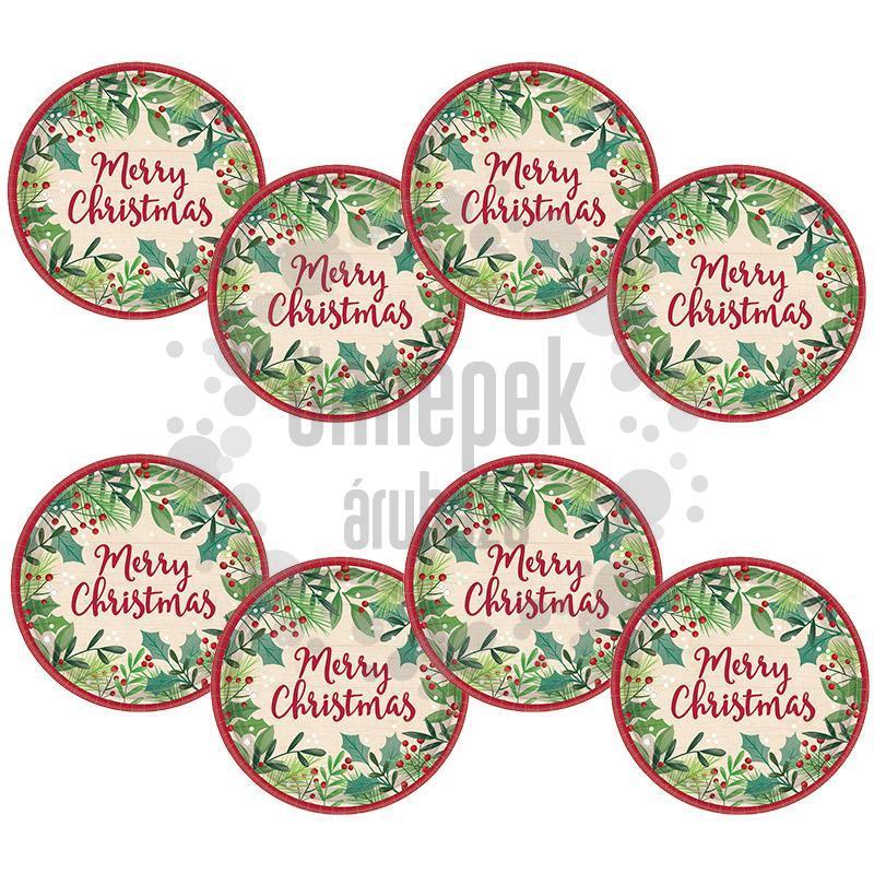Karácsonyi - Merry Holly Day Christmas Parti Tányér - 18 cm, 8 db-os