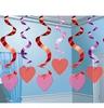 Szives Spirális Szerelmes Függő Dekoráció - 15 db-os
