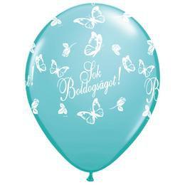11 inch-es Sok Boldogságot Caribbean Blue Lufi Esküvőre (25 db/csomag)