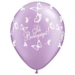 11 inch-es Sok Boldogságot Pearl Lavender Lufi Esküvőre (25 db/csomag)