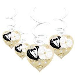 Sok Boldogságot Menyasszony-Vőlegény Arany Esküvői Függő Dekoráció - 6 db-os