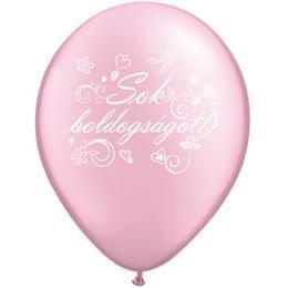 11 inch-es Sok Boldogságot Pearl Pink Lufi Esküvőre (25 db/csomag)