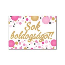 Sok Boldogságot Rózsaszín Pasztell Konfettis Hűtőmágnes