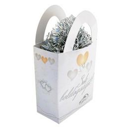 Sok Boldogságot! Szívek és Galambok Ezüst Esküvői Léggömbsúly