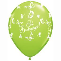 11 inch-es Sok Boldogságot Lime Green Lufi Esküvőre (25 db/csomag)
