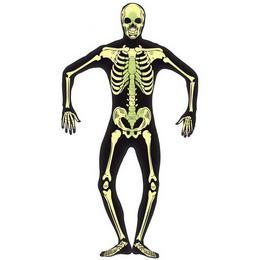 Sötétben Világító Fekete Csontváz Testhez Álló Férfi Jelmez, L-es