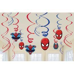 Spiderman - Pókember Spirális Függő Dekoráció - 12 db-os