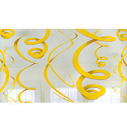 Sárga Spirális Függő Dekoráció - 56 cm, 12 db-os