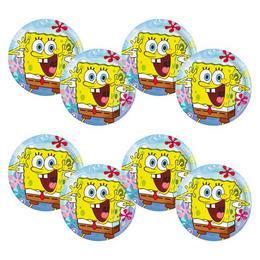 Spongyabob Kockanadrág - Spongebob Parti Tányér - 23 cm, 8 db-os