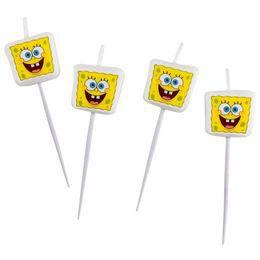 Spongyabob - Spongebob Parti Gyertya Szett - 4 db-os