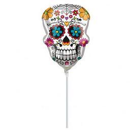 Sugar Skull Levegős Mini Fólia Lufi Halloween-re, 23 cm