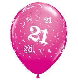 21-es Szülinapi Számos Lufi - Vadmálna Rózsaszín, 28 cm, 6 db