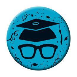 Szemüveg Kalappal Kék Kitűző Ballagásra - 5,5 cm