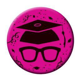 Szemüveg Kalappal Rózsaszín Kitűző Ballagásra - 5,5 cm