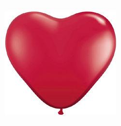 Piros Szív Lufi - Áttetsző, 15 cm, 100 db