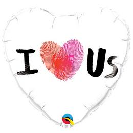 Szerelmes Ujjlenyomatos Szíves Szív Alakú Héliumos Fólia Lufi, 46 cm