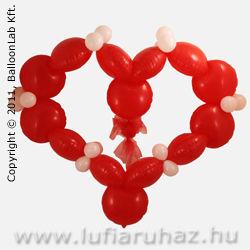 Red Solid Colour Bubbles Szív Szerelmes Lufi Dekoráció