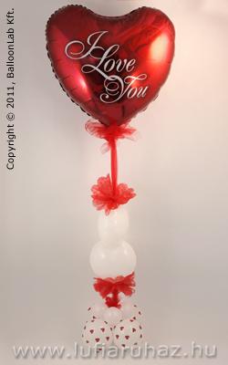 I Love You Red Rose Szerelmes Lufi Dekoráció