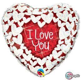 18 inch-es Szíven Szív - I Love You Red and White Szerelmes Héliumos Fólia Lufi