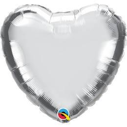 18 inch-es Ezüst - Silver Szív Héliumos Fólia Lufi