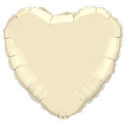 4 inch-es Gyöngyház Krémszínű - Pearl Ivory Szív Fólia Lufi Pálcán
