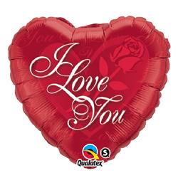 36 inch-es Vörös Rózsa - I Love You Red Rose Szerelmes Héliumos Fólia Lufi