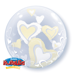 24 inch-es White és Ivory Floating Hearts Szerelmes Héliumos Double Bubble Lufi