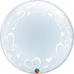 24 inch-es Stylish Hearts Szives Héliumos Deco Bubble Lufi