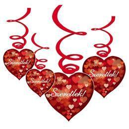 Szeretlek! Színes Szívekkel Szerelmes Függődekoráció - 6 db-os
