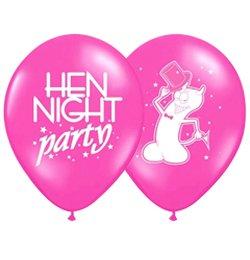 Hen Night Party Feliratú Rózsaszín Lufi Lánybúcsúra - 6 db-os