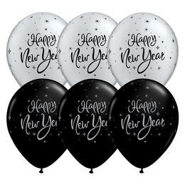 11 inch-es New Year Sparkle Black és Silver Assorted Lufi (25 db/csomag)