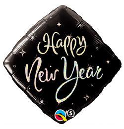 18 inch-es Fekete Szikrák - New Year Sparkle Szilveszteri Héliumos Fólia Lufi