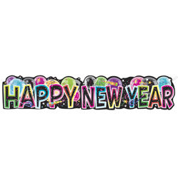 Happy New Year Feliratú Mintás Banner - 136 cm-es