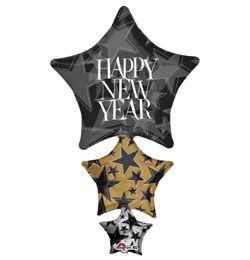 Happy New Year Stacker Szilveszteri Super Shape Héliumos Fólia Lufi