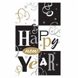 Block Party - Happy New Year Feliratú Parti Asztalterítő Szilveszterre - 260 cm x 137