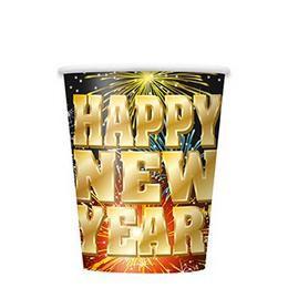 Happy New Year Fireworks Parti Pohár Szilveszterre - 270 ml, 8 db-os