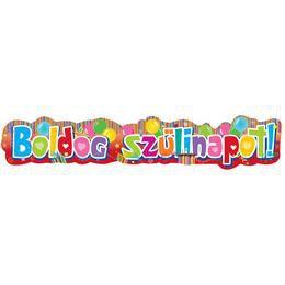 Színes Boldog Szülinapot Feliratú Parti Banner - 148 cm x 27 cm