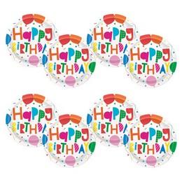 Színes Léggömb Mintás Happy Birthday Colourful Balloons Tányér