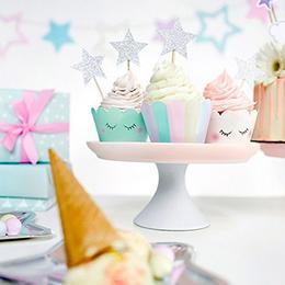 Színes Vidám Cupcake Parti Papír Tartó - 6 db-os