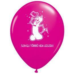 11 inch-es Szingli Többé Nem Leszek Magenta Rózsaszín Lufi Lánybúcsúra (6 db/csomag)