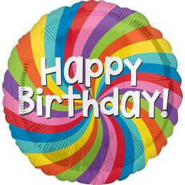 18 inch-es Happy Birthday Rainbow Wheel - Szivárvány Színes Születésnapi Fólia Lufi