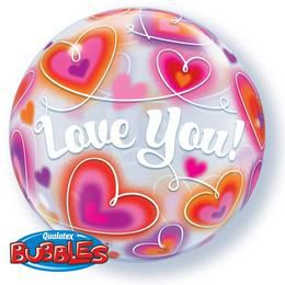 Love You Doodle Szerelmes Bubble Lufi, 56 cm