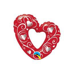 14 inch-es Hearts & Filigree Red Szerelmes Fólia Lufi Pálcán