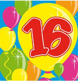 16 éves szülinapi köszöntő Lufis Számos Szülinapi Szalvéta   16 os   Party Kellékek Webshop 16 éves szülinapi köszöntő